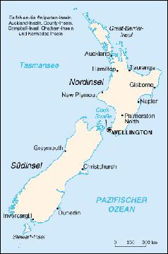 Karte von Neuseeland Bild: de.wikipedia.org