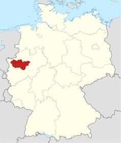 Bundesrepublik Deutschland mit hervorgehobenem Regionalverband Ruhr (Ruhrgebiet).