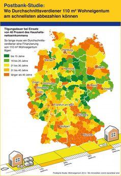 """Postbank-Studie: Wo Durchschnittsverdiener 110 m² Wohneigentum am schnellsten abbezahlen können. Bild: """"obs/Postbank"""""""