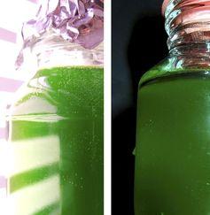 Grünalgen im Licht (links) und in luftdicht verschlossenen Flaschen im Dunkeln (rechts). Quelle: © RUB, Foto: AG Photobiotechnologie (idw)