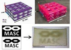 Digitale Vorlage (links) und spätere 3D-Druck-Produkte.