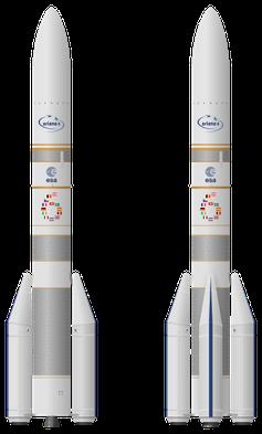 Geplante Ariane 6 in den Konfigurationen Ariane 62 mit zwei und Ariane 64 mit vier Feststoffboostern