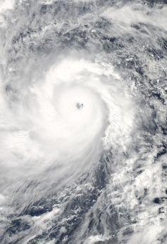 Taifun Haiyan am 7. November, beim Erreichen der Philippinen