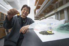 Linda Wang mit verflüssigtem Kunststoff.