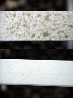 Die mit Titandioxidmolekülen ausgestattete Oberfläche (unten) unterscheidet sich deutlich von der nicht ausgerüsteten Probe (oben). Quelle: © Fraunhofer IGB (idw)
