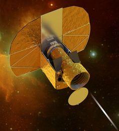 CHEOPS-Satellit im Flug: Der ausgeklappte Sonnenschild im Hintergrund schützt das Teleskop vor der Sonneneinstrahlung -  denn konstante Temperaturen sind für präzise Messungen unerlässlich. Quelle: Bild: Swiss Space Center, EPFL. (idw)