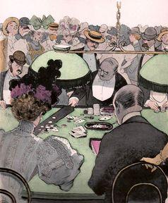 Eine Partie Baccara, Zeichnung von Albert Guillaume um 1897 (Symbolbild)