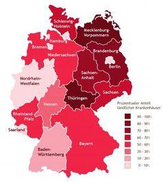 """Prozentualer Anteil ländlicher Krankenhäuser in den Bundesländern. Bild: """"obs/Grafik: BDO"""""""