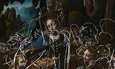 Leonardo da Vincis Skizze (weiß) und sein späteres Bild.
