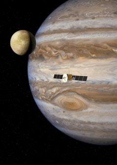 2022 soll die Raumsonde «JUICE» ins All starten und acht Jahre später ihr Ziel erreichen: das Jupitersystem. Quelle: Grafik: ESA/AOES. (idw)