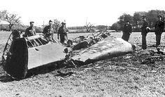 Das Wrack von Heß' Messerschmitt Bf 110 (12. Mai 1941)