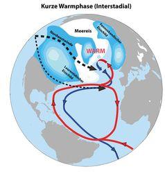 """Abbildung B: Die Nordhalbkugel im """"Interstadial"""" (kurze, warme Zwischenphasen während der Eiszeit) Quelle: Alfred-Wegener-Institut (idw)"""