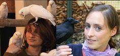Links: Dr. Alice Auersperg; Rechts: Dr. Auguste von Bayern mit Goffin Kakdus & junger Neukaledonischer Krähe Quelle: Copyright: Julie Auersperg & Auguste von Bayern (idw)