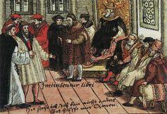 Luther auf dem Reichstag in Worms (kolorierter Holzschnitt, 1556)