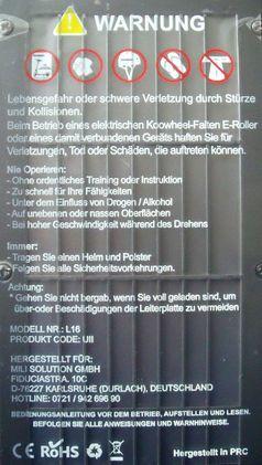 "Typenschild E-Scooter Koowheel L 16 / Bild: ""obs/real GmbH"""