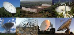 """Radioteleskope im Rahmen des """"International Pulsar Timing Array"""" (IPTA). Im Uhrzeigersinn startend von oben links: Effelsberg, Nancay, Arecibo, Parkes, Lovell-Teleskop, Westerbork und GBT. Quelle: MPIfR, Nancay, Arecibo, Parkes, Jodrell Bank, ASTRON, Green Bank (für die Einzelbilder der Radioteleskope) (idw)"""