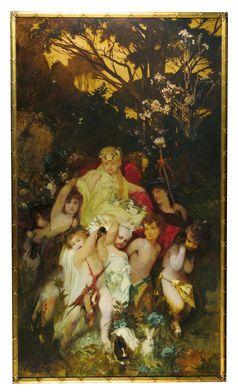 Hans Makart, Moderne Amoretten, Triptychon, signiert auf der Mitteltafel, Öl auf Leinwand, 292 x 167 cm, gerahmt Bild: Dorotheum Fotograf: Dorotheum