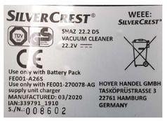 """Die Hoyer Handel GmbH warnt vor der weiteren Verwendung des Artikels """"Handstaubsauger SHAZ 22.2 D5"""" der Marke """"Silvercrest"""" mit der Artikelnummer 339791_1910 inklusive des dazugehörigen Akkus. /  Bild: """"obs/Lidl"""""""