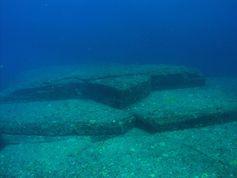 """Die Unterwasserformation oder Ruine beim Yonaguni Monument, die """"Die Schildkröte"""" genannt wird."""