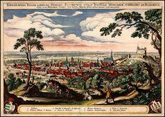 Pozsony (Preßburg, Bratislava) war die Hauptstadt des Königreichs Ungarn von 1536 bis 1848). Kupferstich von Matthäus Merian, 1638 · Bild: Ungarisches Nationalmuseum / UM / Eigenes Werk