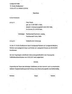 Haftentlassungsbeschluss Bild: KRD