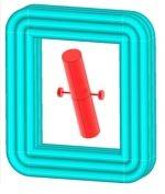 Ein Magnet ist drehbar in einer Spule gelagert