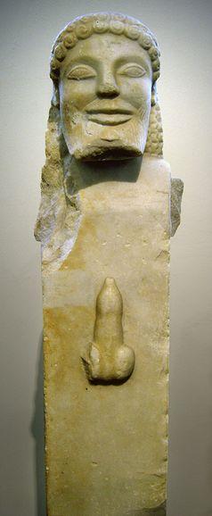 Herme mit Phallusdarstellung, antikes Griechenland, 520v.Chr.