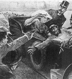 Gavrilo Princip erschießt Erzherzog Franz Ferdinand und dessen Frau. Zeitgenössische, nachempfundende Darstellung.