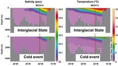 Salzgehalt und Temperatur entlang des Schnittes durch den Nordatlantik für Interglazial und Kaltzeit. Quelle: Grafik: E. Kandiano. (idw)