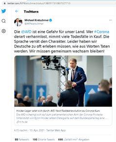"""Tweet vom 10.04.2021 Bild: Screenshot Twitter: """"https://twitter.com/MPKretschmer/status/1380917310807027713"""" / Eigenes Werk"""