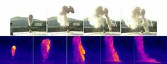 Der künstliche Vulkan bricht aus. Im zweiten Bild links oben kollabiert die Wolke und rast dann nach unten. In der unteren Bildreihe wurde die künstliche Eruption mit Thermalkameras aufgenommen. Die heißesten Bereiche sind weiß bis hellgelb, die kalten tiefblau. Aufnahmen: Bernd Zimanowski/Sonja Calvari (Thermalkamera)