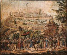 Hambacher Fest von 1832. Beachten Sie die Anordnung der Farben der deutschen Flagge: Schwarz ist unten, Gold ist oben. Diese Reihenfolge mit dem nicht von der Dunkelheit unterdrückten Licht findet sich in Wittenberg wieder.