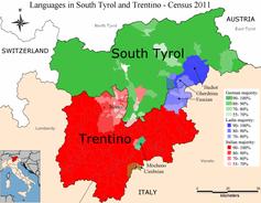 Die Sprachgruppenmehrheiten in den Gemeinden der Region gemäß der Volkszählung 2011