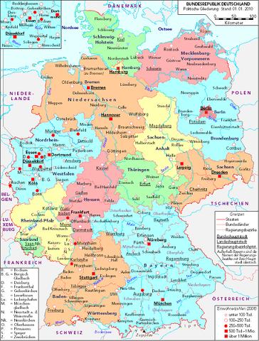 deutschlandkarte osten Politische Deutschlandkarte (West und Mitteldeutschland ohne den