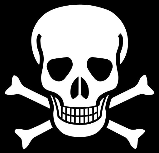 Der Schädel mit gekreuzten Knochen ist das traditionelle Piktogramm ...