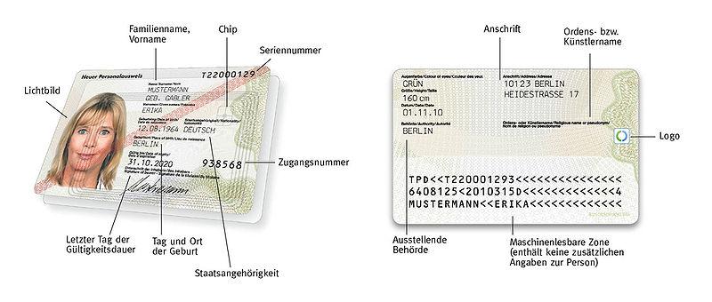 Deutscher Personalausweis seit dem 1. November 2010 (Muster ...