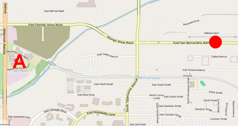 """The shootout occurred on the south side of San Bernardino Ave. just east of Sheldon Drive; the """"A"""" at the left indicates the location of the Inland Regional Center."""