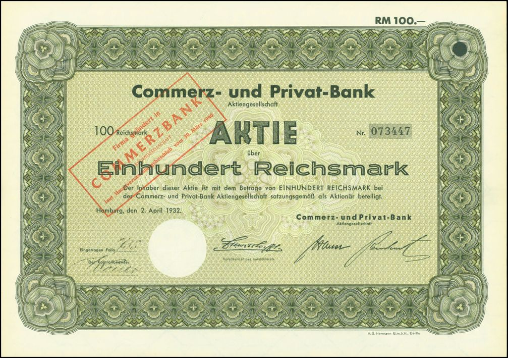 Aktie über 100 RM der Commerz- und Privat-Bank AG vom 2. April 1932; Stempelaufdruck von 1940 mit dem neuen Namen Commerzbank (Symbolbild)