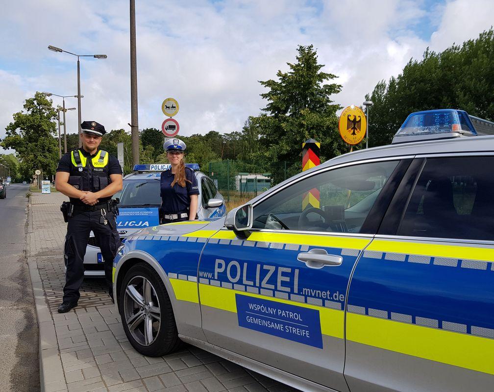 Deutsch-polnische Streife an der Grenze. Bild: Polzei