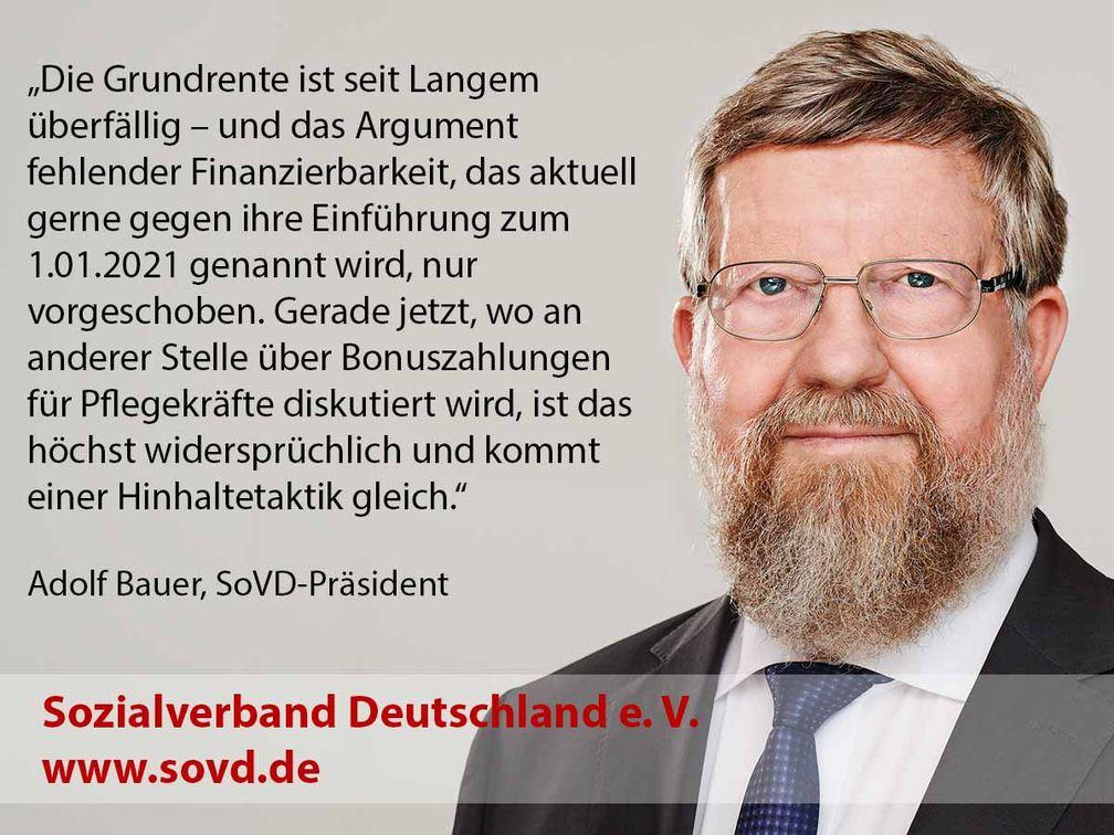 """SoVD-Präsident Adolf Bauer zur Grundrente  Bild: """"obs/SoVD Sozialverband Deutschland/Sozialverband Deutschland e. V."""""""