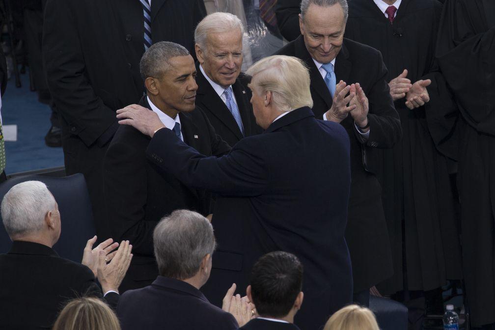 Trump during his inauguration in 2017. From left, Barack Obama, Joe Biden, Chuck Schumer.