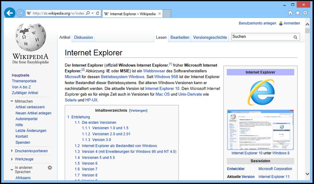 Internet Explorer 11 unter Windows 8.1