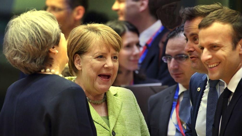Theresa May, Angela Merkel und Emmanuel Macron (2017)