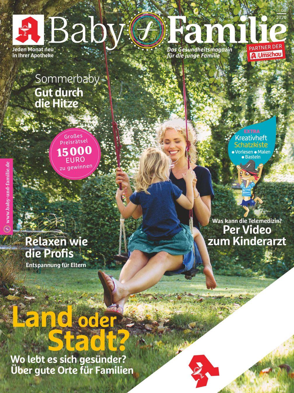 """Titelcover Baby und Familie, Ausgabe 8/2020.  Bild: """"obs/Wort & Bild Verlag - Gesundheitsmeldungen"""""""