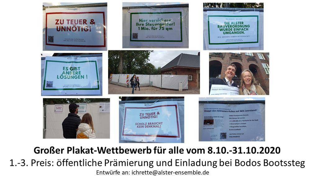 """Plakatwettbewerb der Bürgerinitiative: am Bauzaun ist noch Platz für kreative Ideen /  Bild: """"obs/Bürgerinitiative """"Rettet die Alte Wache Rabenstraße""""/Christoph Marloh"""""""