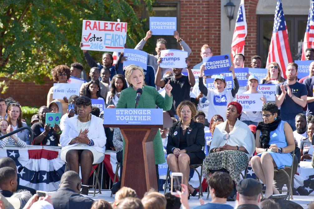 Clinton campaigns in Raleigh, North Carolina, October 22, 2016