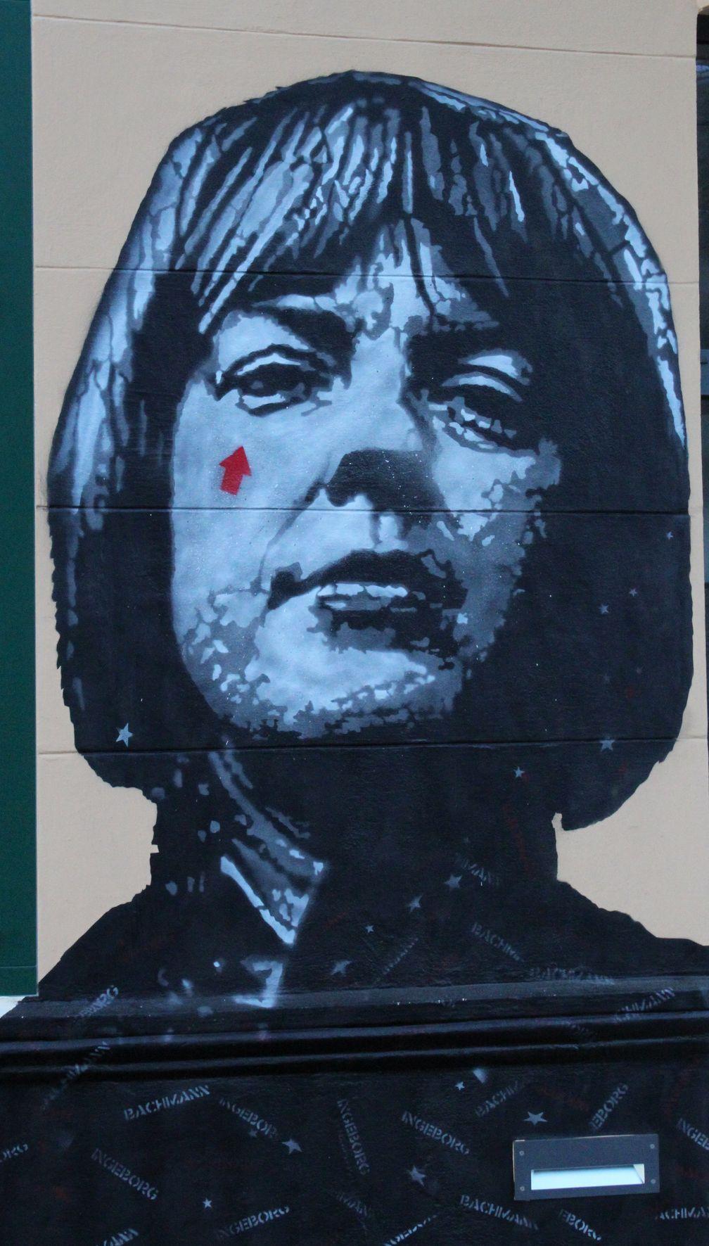Ingeborg Bachmann: Graffito von Jef Aérosol am Musilhaus in Klagenfurt