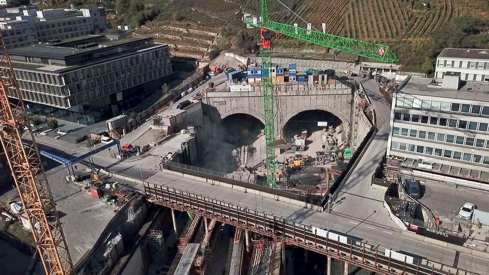 Baustelle Stuttgart 21 aus der Luft