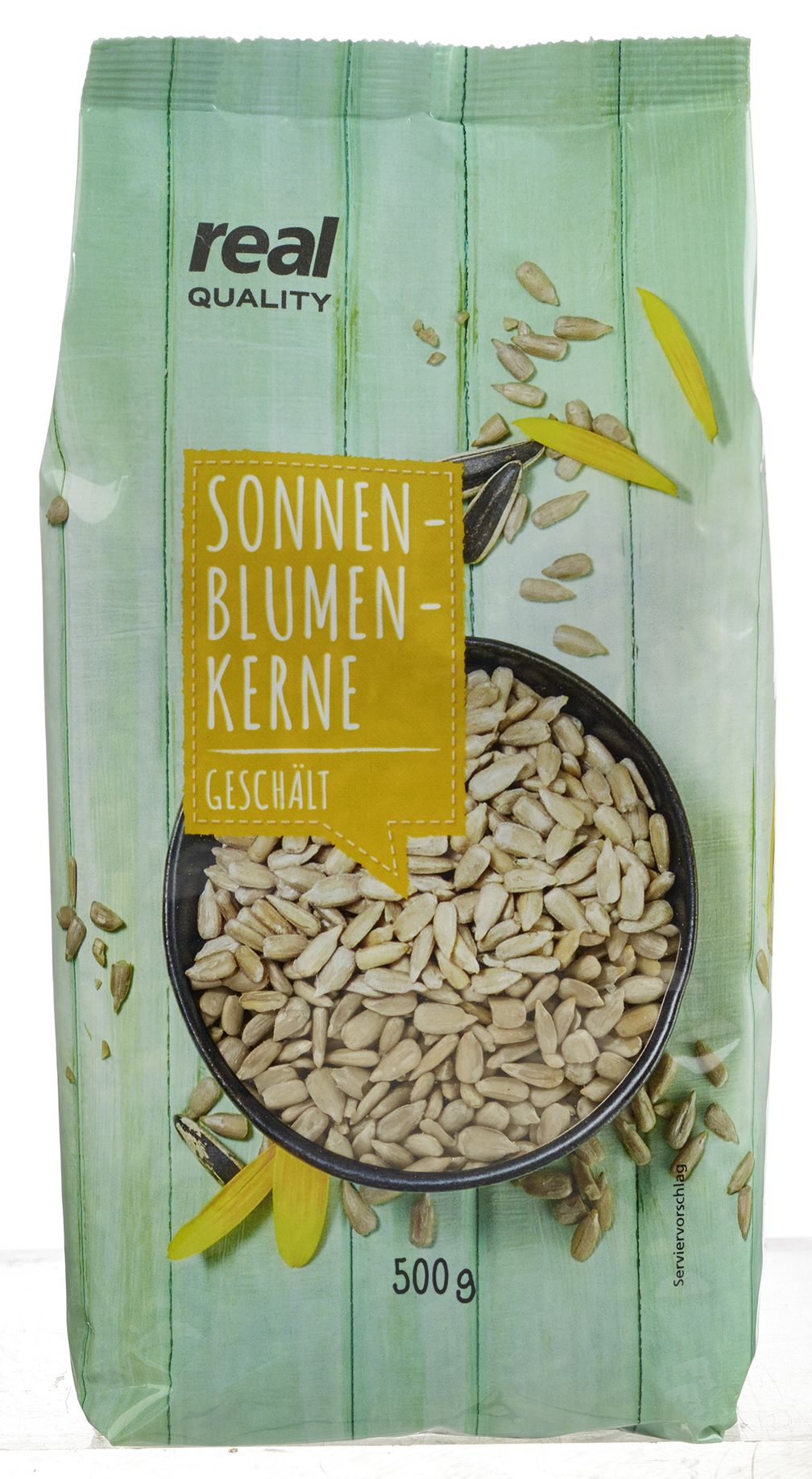 "real QUALITY Sonnenblumenkerne 500g. Bild: ""obs/real GmbH"""