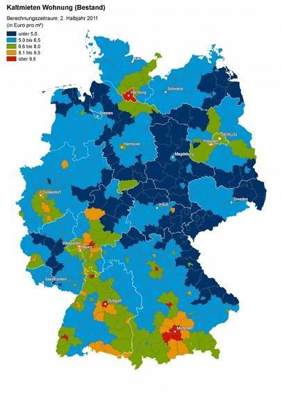 aktuelle mietpreise in deutschlands 295 landkreisen deutliches nord s d und ost west gef lle. Black Bedroom Furniture Sets. Home Design Ideas